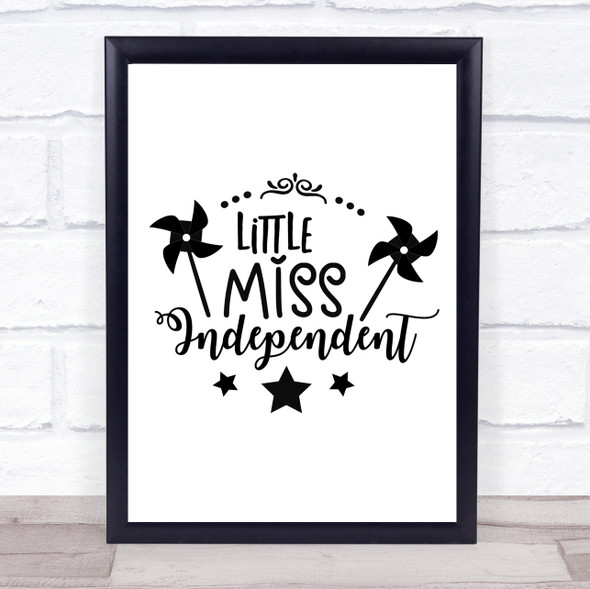 Miss Independent Quote Typography Wall Art Print
