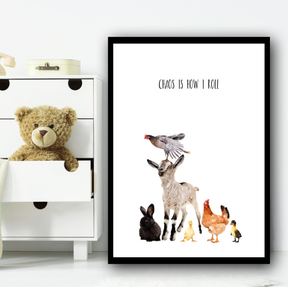 Animals Cute Is How I Roll Children's Nursery Bedroom Wall Art Print