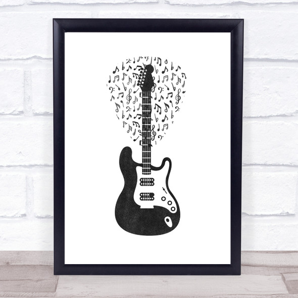 Music Note Style Chalk Guitar & Plectrum Framed Wall Art Print