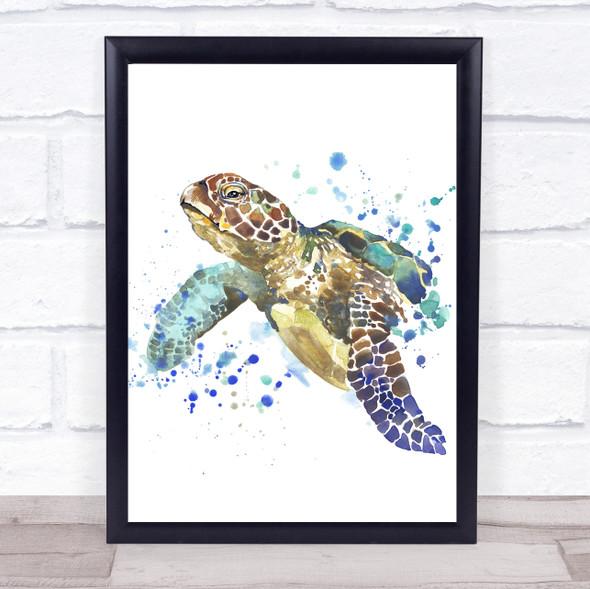 Watercolour Sea Turtle Framed Wall Art Print