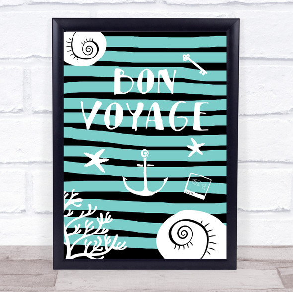 Bon Voyage Stripe Framed Wall Art Print