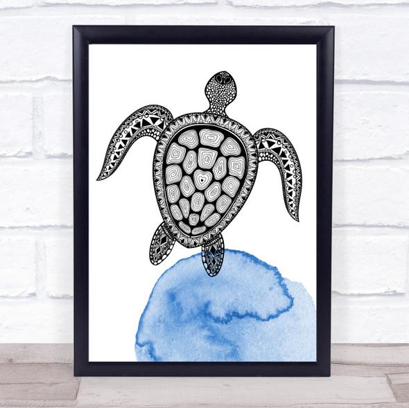 Zentangle Ocean Watercolour Sea Turtle Framed Wall Art Print