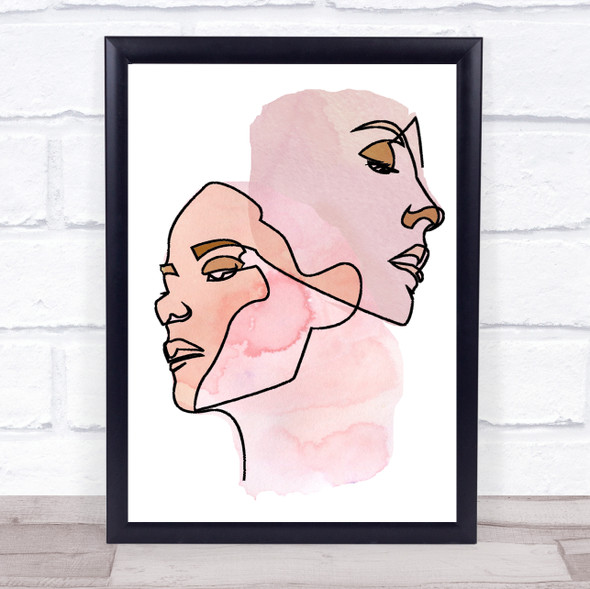 Abstract Watercolour Line Art Two Faces Peach Pink Decorative Wall Art Print