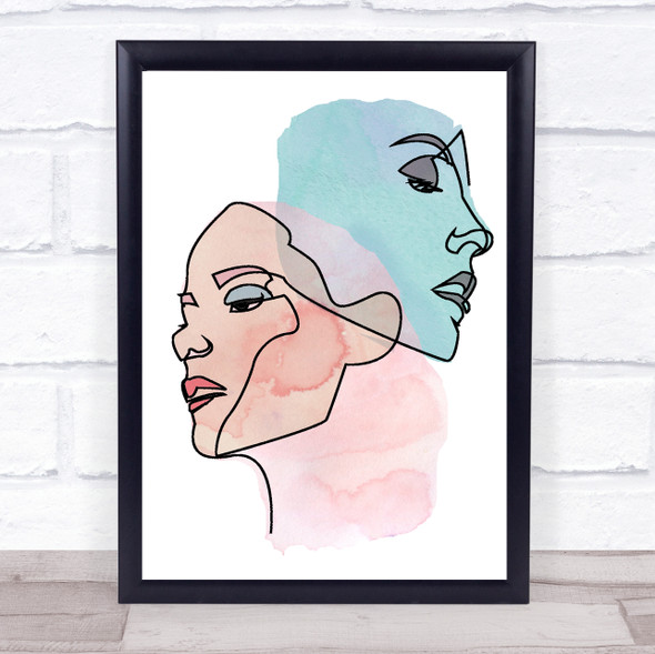 Abstract Watercolour Line Art Two Faces Pink Blue Decorative Wall Art Print