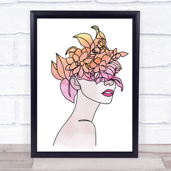 Abstract Watercolour Line Art Floral Lady Bright Decorative Wall Art Print