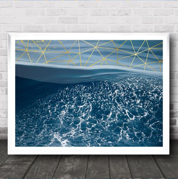 Sea Geometric Style Crashing Waves Decorative Wall Art Print