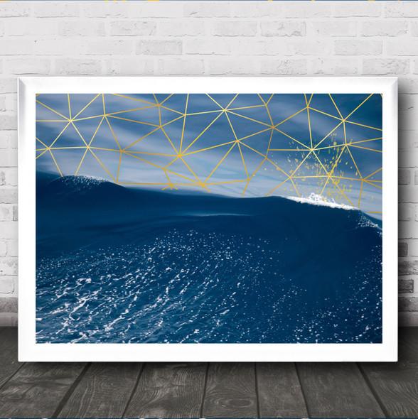 Sea Geometric Style Tidal Wave Decorative Wall Art Print