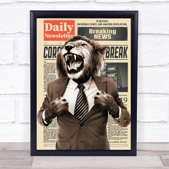 Lion Roaring In Suit Corona Newspaper Decorative Wall Art Print
