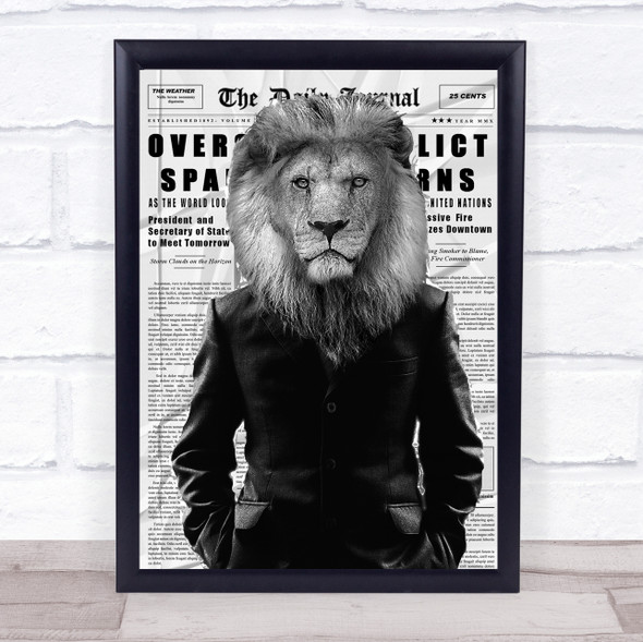 Lion In Suit Black & White Newspaper Decorative Wall Art Print