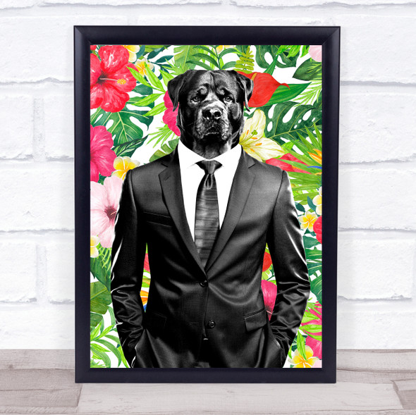 Rottweiler Dog In Suit Retro Floral Decorative Wall Art Print