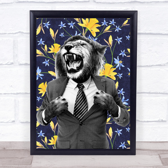 Lion Roaring In Suit Blue Floral Decorative Wall Art Print