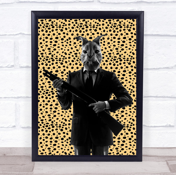 Rabbit In Suit Gun Leopard Print Decorative Wall Art Print