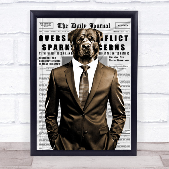 Rottweiler Dog In Suit Newspaper Decorative Wall Art Print