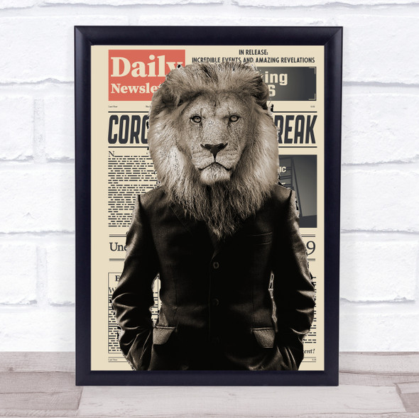 Lion In Suit Corona Newspaper Decorative Wall Art Print