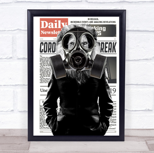 Lion In Suit Corona Gas Mask Decorative Wall Art Print