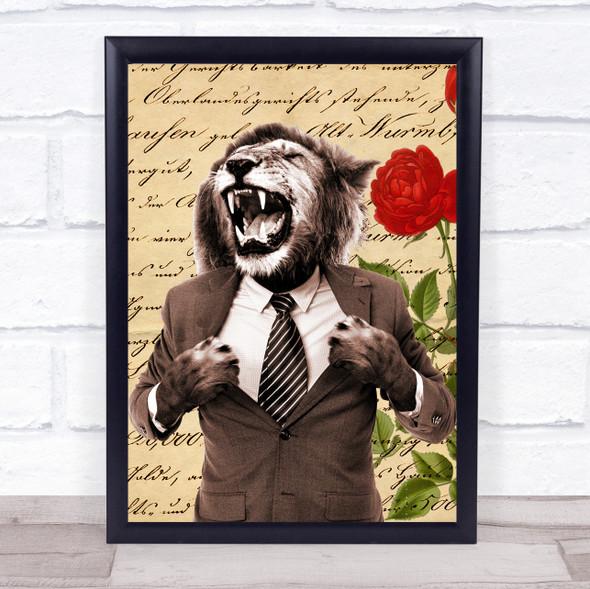 Lion Roaring In Suit Vintage Decorative Wall Art Print