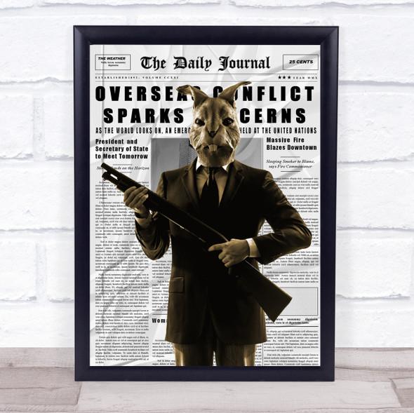 Rabbit In Suit Gun Newspaper Decorative Wall Art Print
