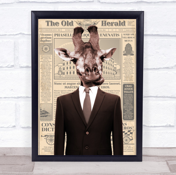 Giraffe In Suit Newspaper Decorative Wall Art Print