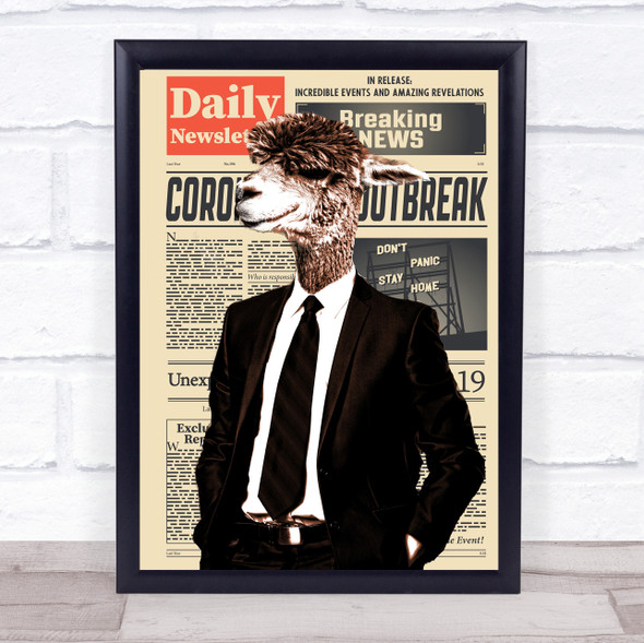 Camel In Suit Newspaper Decorative Wall Art Print