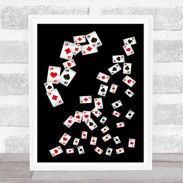 Playing Cards Scattered Decorative Wall Art Print