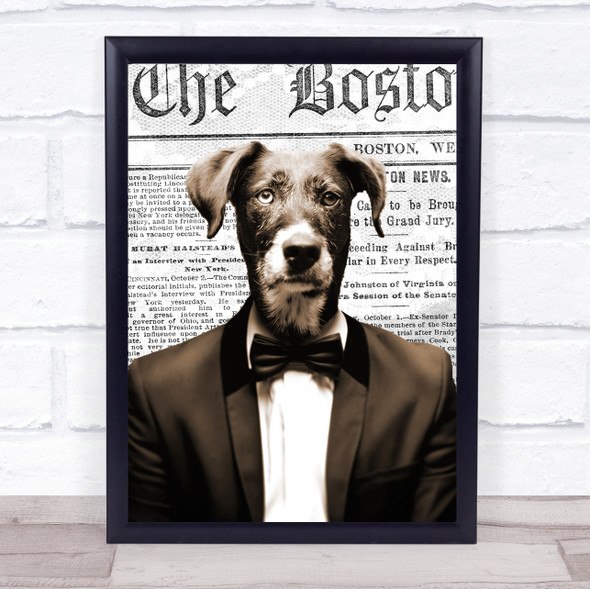 Dog In Suit Newspaper Decorative Wall Art Print