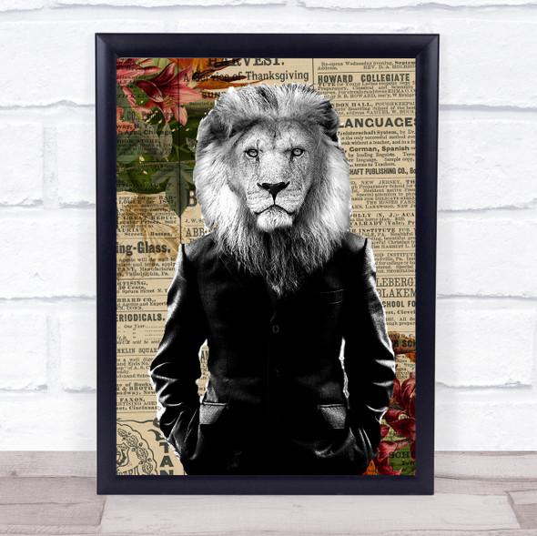 Lion In Suit Vintage Decorative Wall Art Print