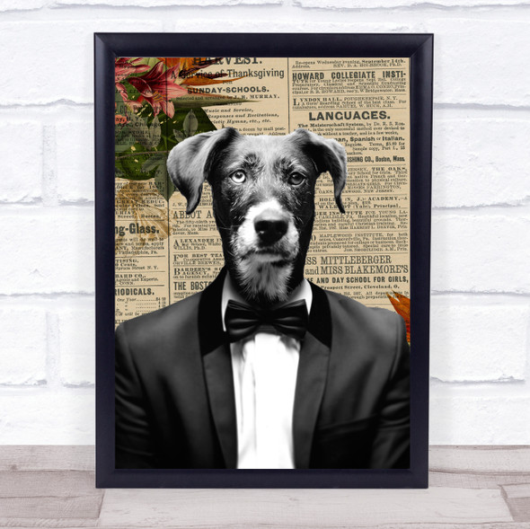 Dog In Suit Vintage Decorative Wall Art Print