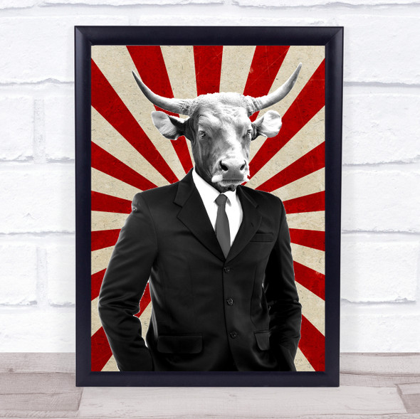 Cow In Suit Retro Decorative Wall Art Print
