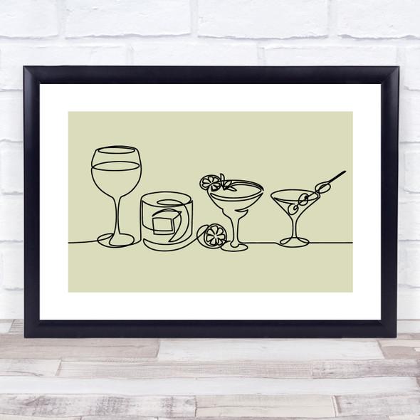 Block Colour Line Art Alcoholic Drinks Decorative Wall Art Print