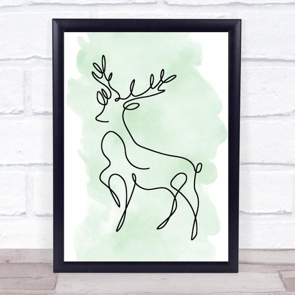 Watercolour Line Art Reindeer Decorative Wall Art Print