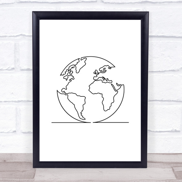 Black & White Line Art Earth Decorative Wall Art Print
