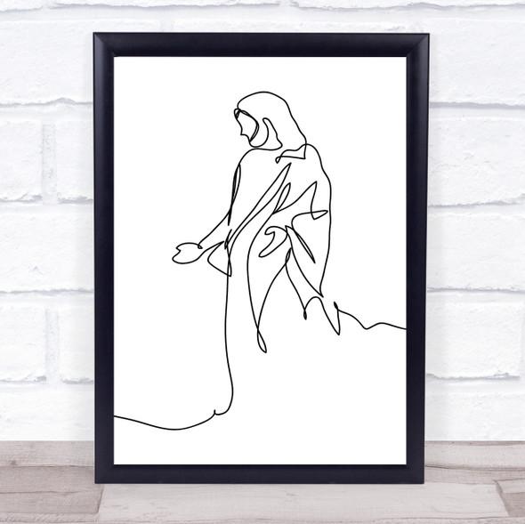 Black & White Line Art Jesus Decorative Wall Art Print