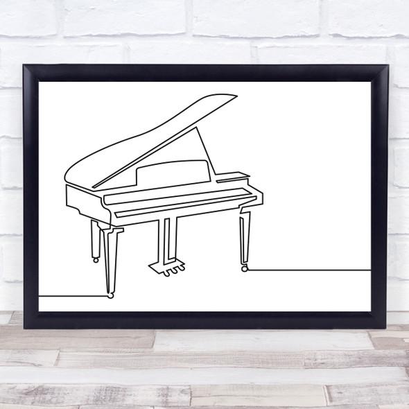 Black & White Line Art Piano Decorative Wall Art Print