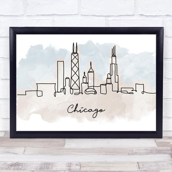 Watercolour Line Art Chicago Decorative Wall Art Print