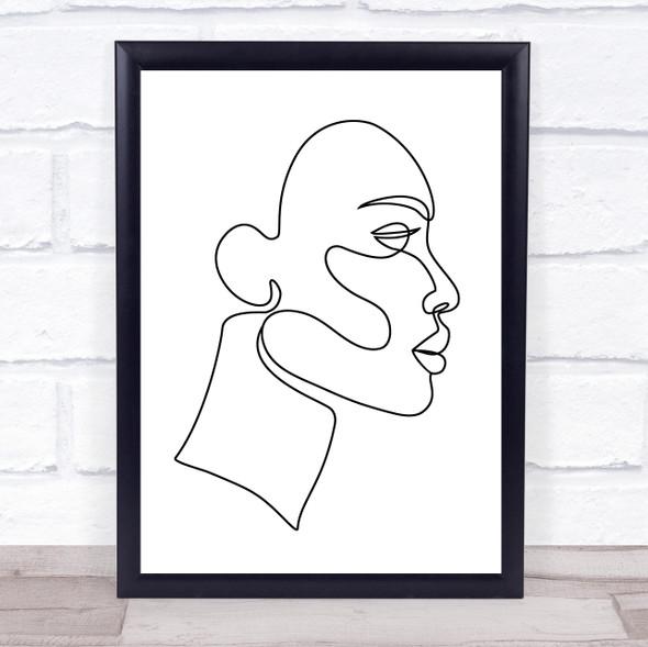 Black & White Line Art Face Decorative Wall Art Print