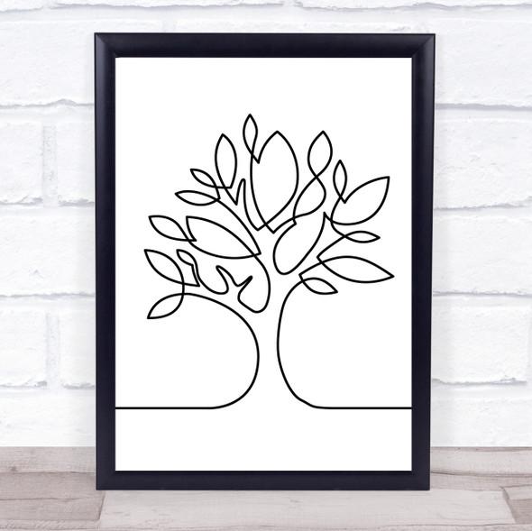 Black & White Line Art Tree Decorative Wall Art Print