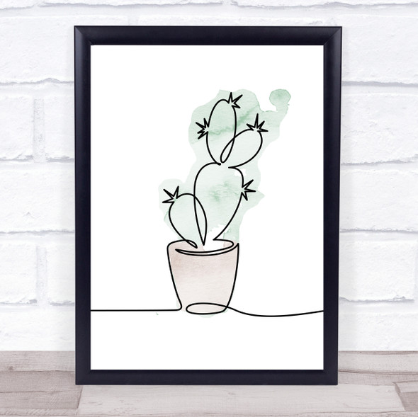 Watercolour Line Art Cactus Decorative Wall Art Print