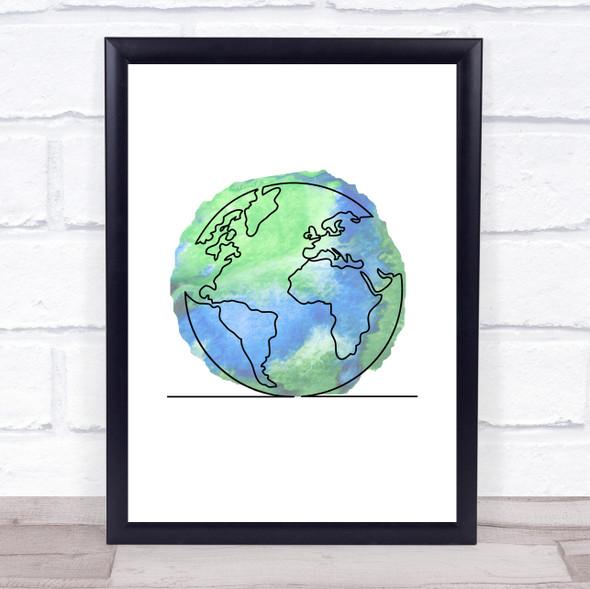 Watercolour Line Art Earth Decorative Wall Art Print