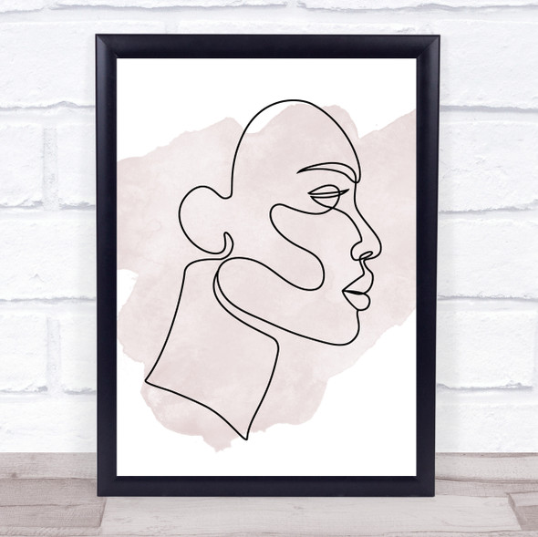 Watercolour Line Art Face Decorative Wall Art Print