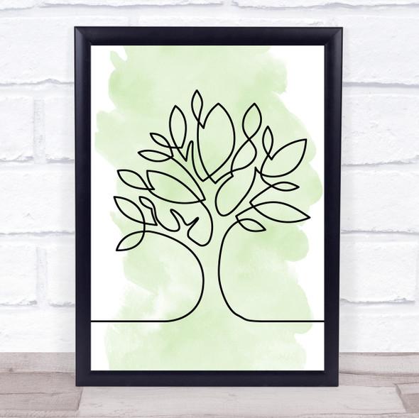 Watercolour Line Art Tree Decorative Wall Art Print