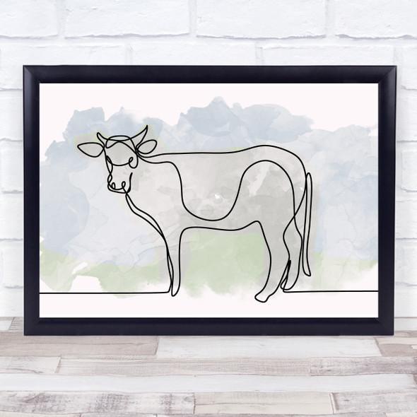 Watercolour Line Art Cow Decorative Wall Art Print
