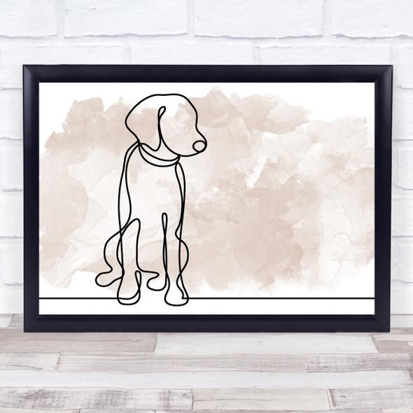 Watercolour Line Art Dog Decorative Wall Art Print