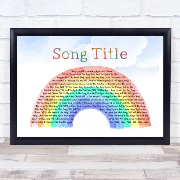 Any Song Custom Watercolour Rainbow & Clouds Personalised Lyrics Print