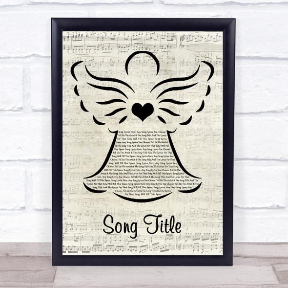 Any Song Custom Music Script Angel Personalised Lyrics Print