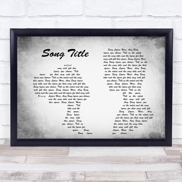 Any Song Lyrics Custom Grey Landscape Couple Personalised Lyrics