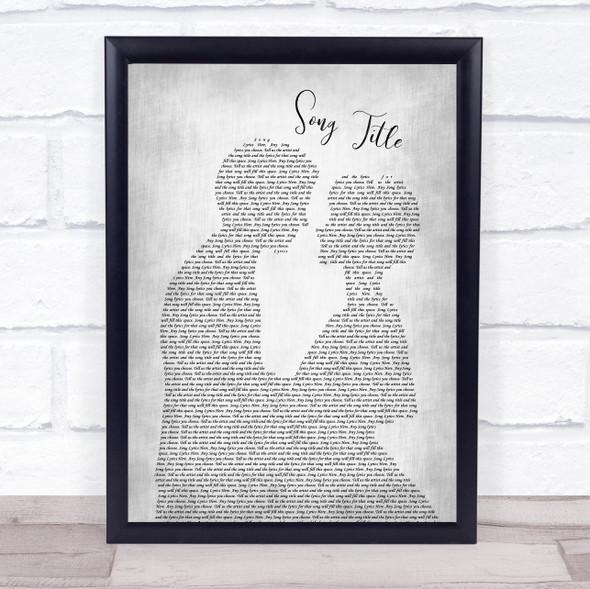 Any Song Lyrics Custom Grey Man & Lady  Personalised Lyrics Print