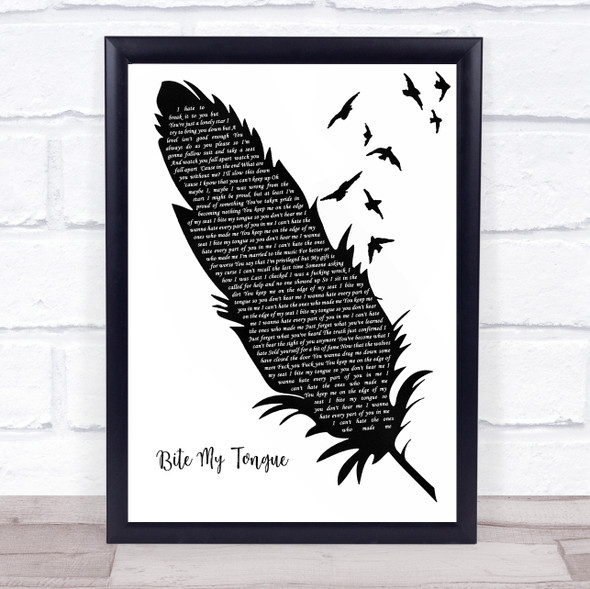 You Me At Six Bite My Tongue Black & White Feather & Birds Song Lyric Print