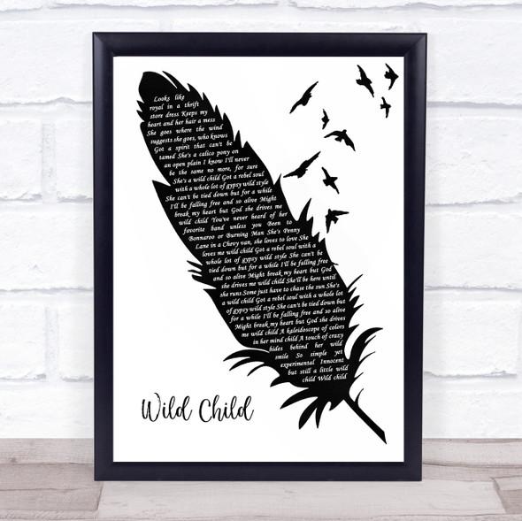 Kenny Chesney Wild Child Black & White Feather & Birds Song Lyric Print
