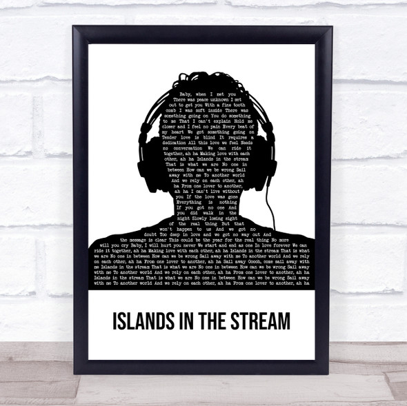 Kenny Rogers Islands In The Stream Black & White Man Headphones Song Lyric Print