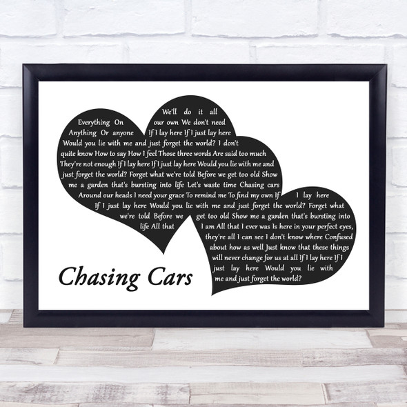 Snow Patrol Chasing Cars Landscape Black & White Two Hearts Song Lyric Print